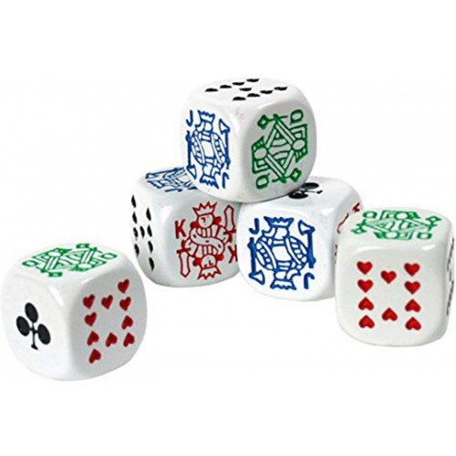 Set da 5 dadi da Poker professionali, da 16 mm