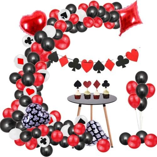 Kit con 107 palloncini e decorazioni festa Poker, Las Vegas