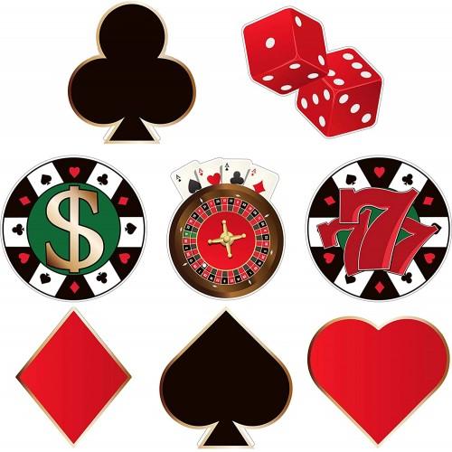 Set da 40 decorazioni Poker in cartoncino, 8 stili diversi, accessori per feste