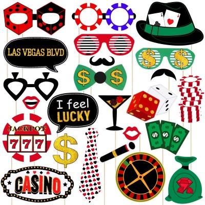 Set da 24 photo booth Tema Las Vegas, Poker, in cartoncino