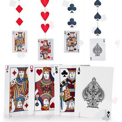 Set 8 Centrotavola Carte da Poker, + 4 festoni pendenti