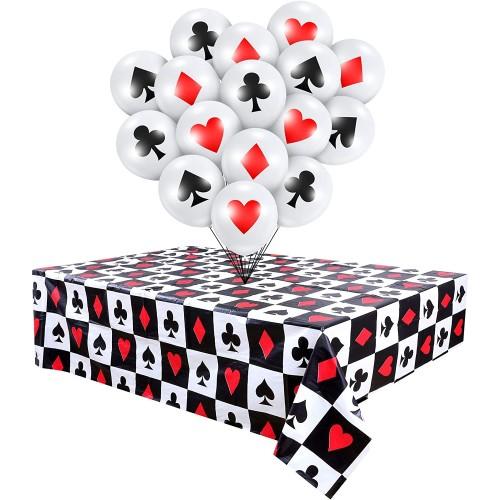 Set da 2 Tovaglie Poker e 16 palloncini a tema, accessori festa Casinò