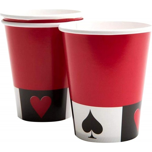 Set da 8 Bicchieri di carta tema Casinò, Poker, usa e getta
