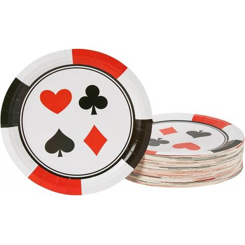 Set da 80 piatti tema Poker per feste, da 23 cm, in cartoncino