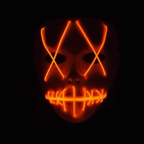 Maschera spaventosa illuminata, fluo party, a led, per Halloween