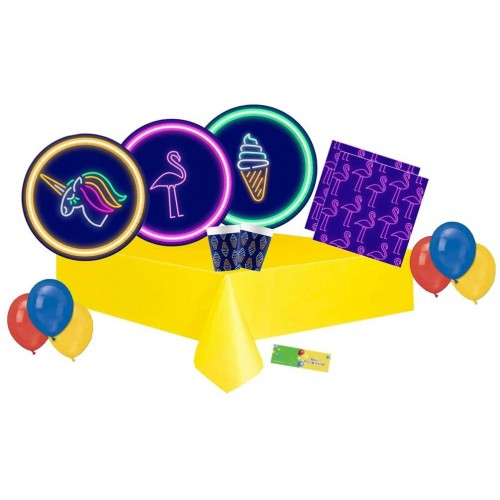 Kit per 64 persone tema Fluo Party