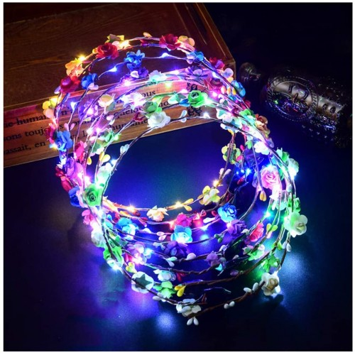 Set da 7 corone di fiori a led, accessori per feste Fluo party