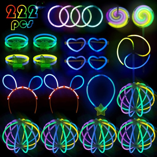 Set da 222 Braccialetti Luminosi, Glow Stick e accessori fluo party