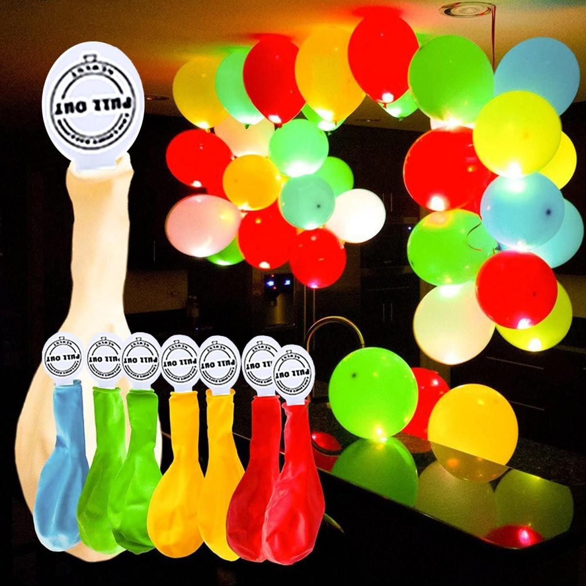 Set 50 palloncini a led, luminosi, da 30 cm, fluo party e feste a tema