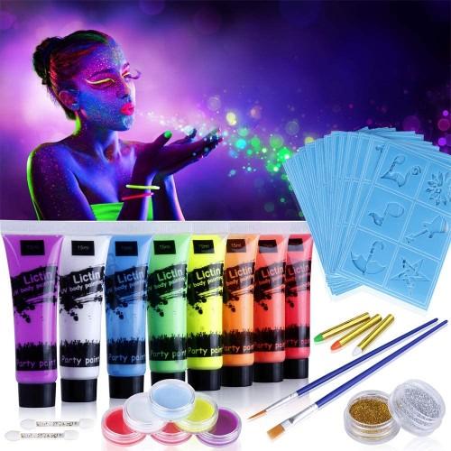 Set Vernice Fluorescente per pelle e trucchi, 8 colori
