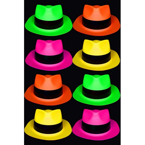 Set da 8 Cappelli fluo party in PVC, colori assortiti