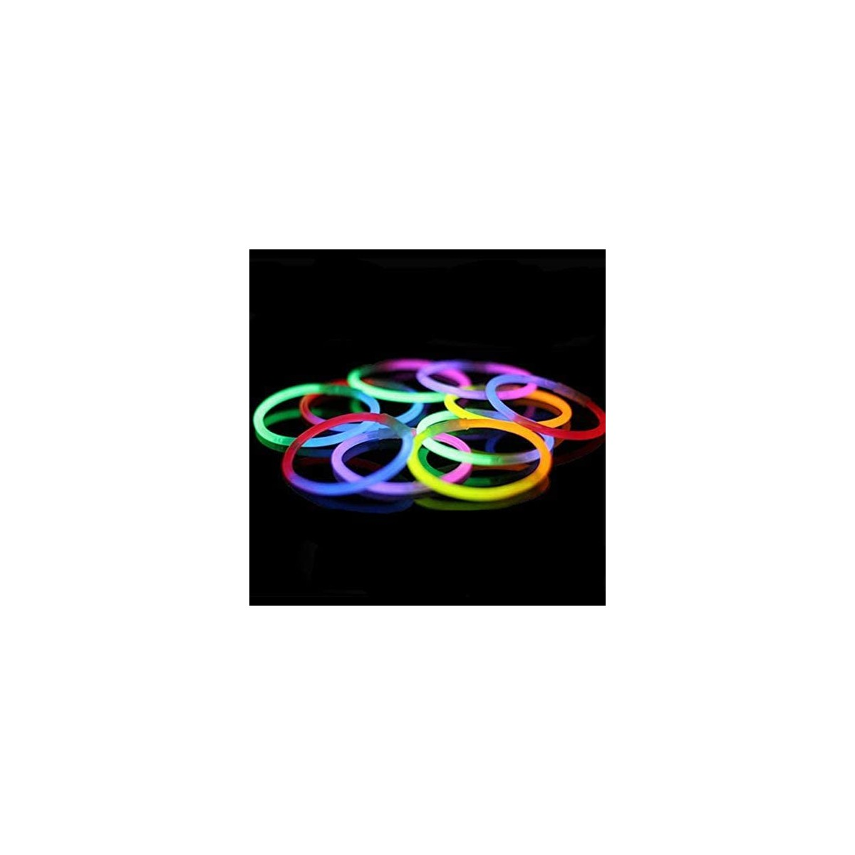 Set 100 bracciali luminosi fluorescenti + 100 connettori bracciale fluo