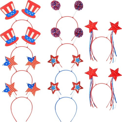 Set da 10 Cerchietti USA, bandiera americana, accessori per feste