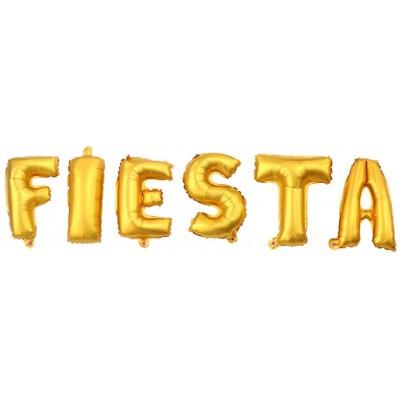 Palloncini Foil, lettera scritta FIESTA, in alluminio, colore oro