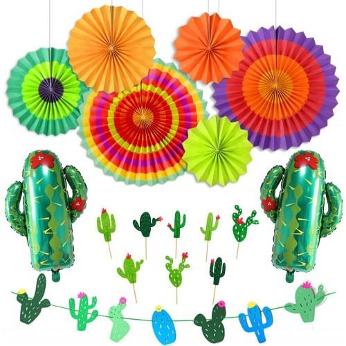 Set da 25 decorazioni fiesta Mexico, palloncini e addobbi