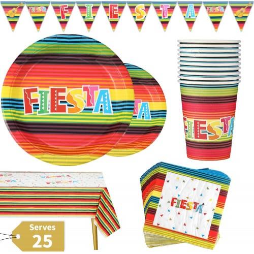 Set da 102 articoli per festa Messicana, coordinato tavola Fiesta