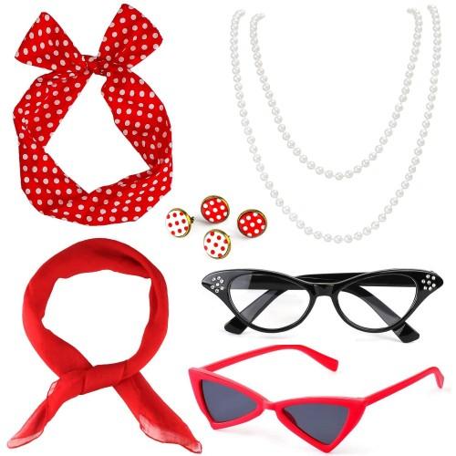 Set Accessori costume rosso donna anni 50, Pin Up
