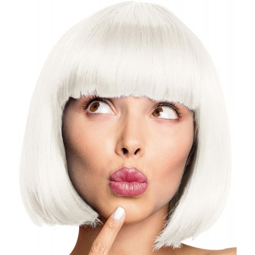 Parrucca da Cabaret bianco perla, Pin Up, con retina per capelli