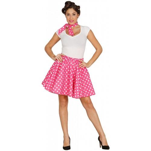 Costume da Pin Up rosa con pois bianchi, per feste o Carnevale