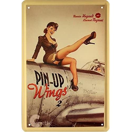 Targa in metallo con soldatessa Pin Up seduta su aereo, stile retrò