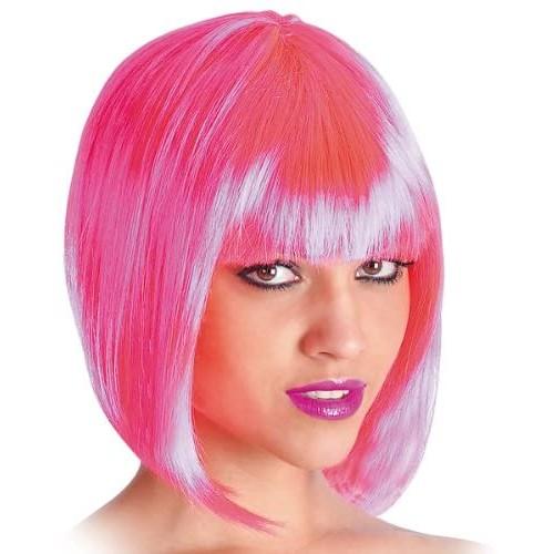 Parrucca rosa da Pin Up con frangetta, travestimento anni 50