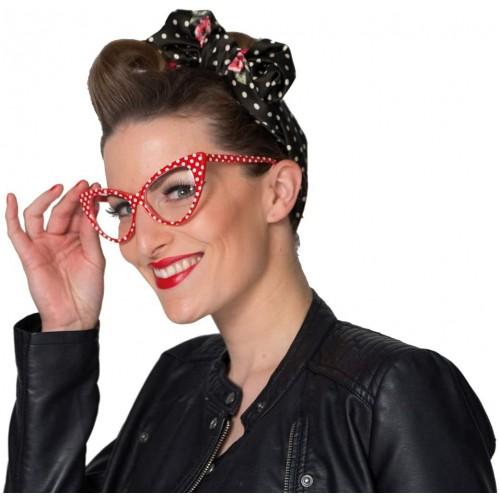 Occhiali da donna stile anni 50, Pin Up, bianchi e rossi a pois