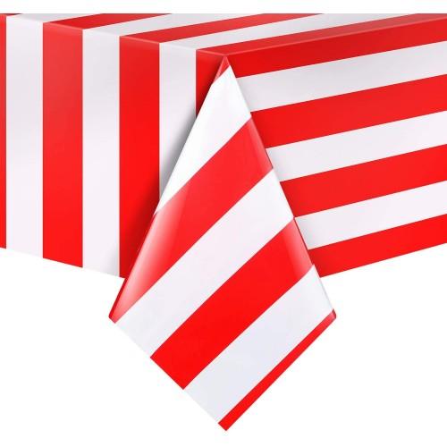 Set da 3 tovaglie a strisce rosse e bianche, in PVC, per feste