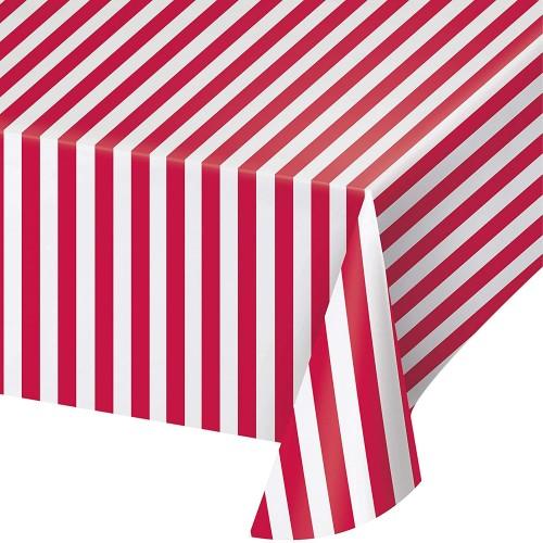 Tovaglia strisce rosse e bianche in PVC, accessorio per feste