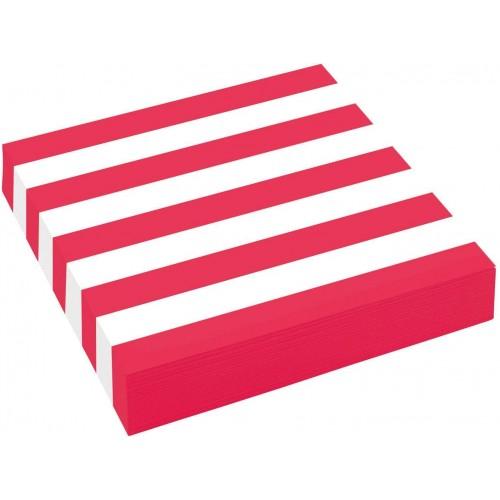 Set da 20 tovaglioli strisce rosse e bianche, per feste a tema