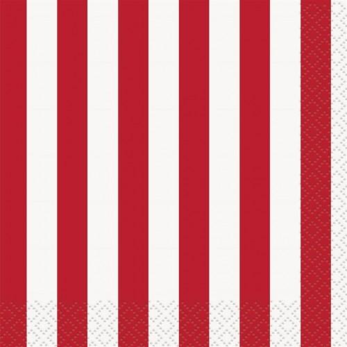 Set da 16 tovaglioli strisce rosse, festa Circo o Pin Up