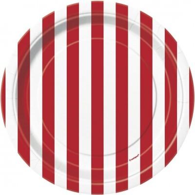 Set da 8 piatti strisce rosse e bianche da 18 cm, in cartoncino e PVC