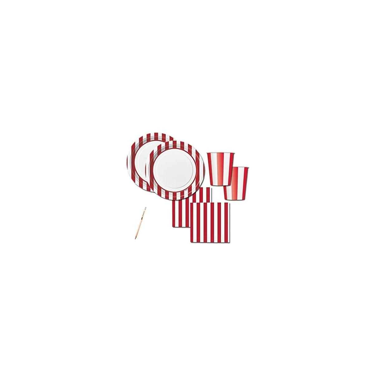 Kit per 16 persone tema strisce rosse e bianche, coordinato tavola