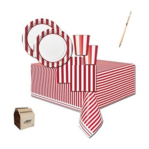Kit per 40 persone tema strisce rosse e bianche