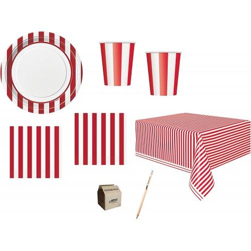 Kit per 32 invitati tema strisce rosse e bianche, coordinato tavola