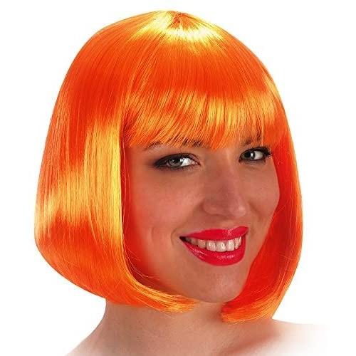 Parrucca da Pin Up arancio, caschetto con frangia, anni 50