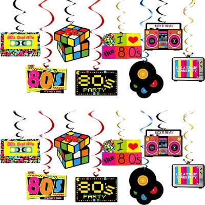 Kit da 30 Decorazioni in cartoncino Festa Anni 80, da appendere