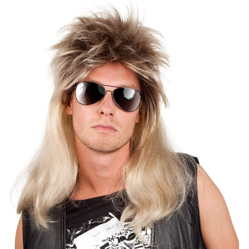 Parrucca Uomo stile anni 1980, retrò, cantante hip pop