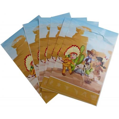 Set di 12 Sacchetti Regalo Cowboy da 15 x 23 cm