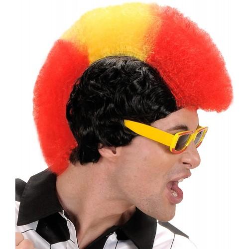 Parrucca con cresta Spagna, gialla e rossa, per feste e Carnevale