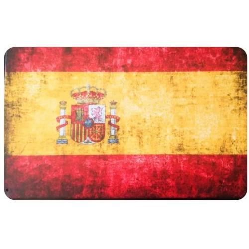 Targa in metallo bandiera della Spagna, vintage stile retrò
