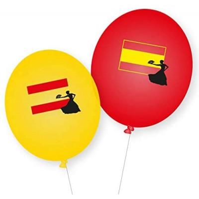 Set da 8 palloncini della Spagna, gialli e rossi, con stemma, per feste