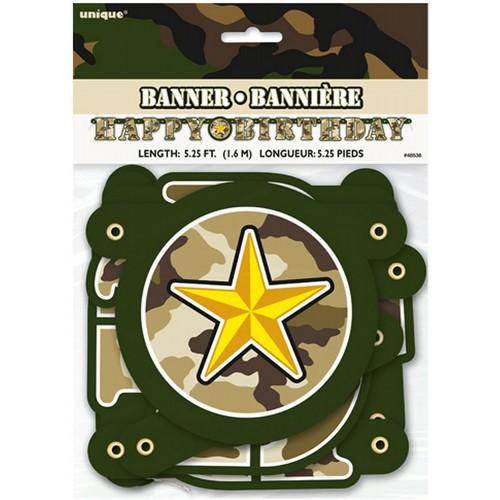 Festone militare, banner fantasia camouflage, per feste