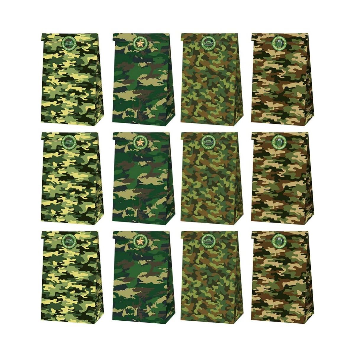 Set da12 sacchetti per Caramelle a Tema Militare, con 18 adesivi camuflage