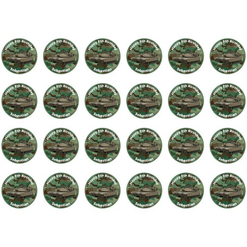 Set da 24 mini cialde tema Militare, in ostia per dolci