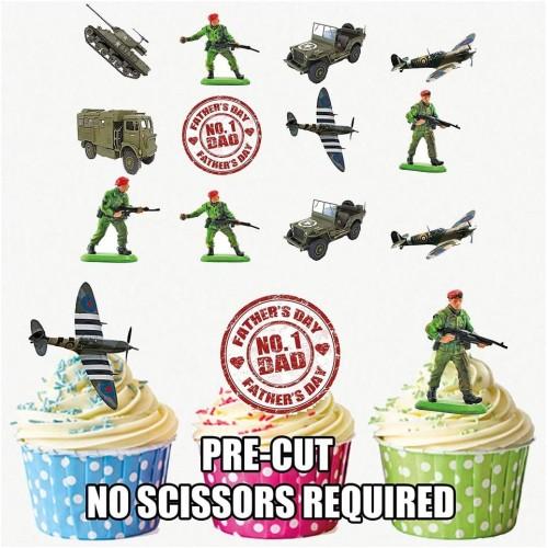 Set da 12 ostie per dolci tema Militare, decorazioni commestibili