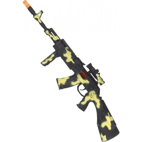 Kalashnikov giocattolo con effetti sonori, colore militare mimetico