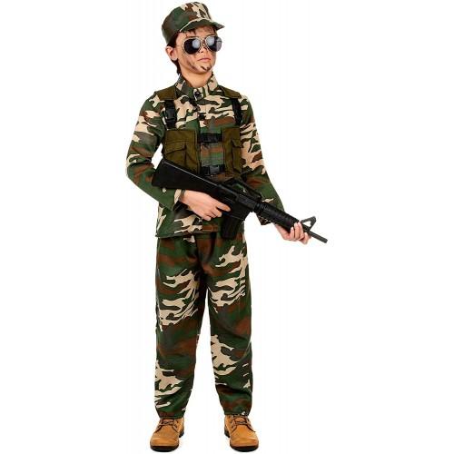 Costume soldato militare per bambini, travestimento mimetico