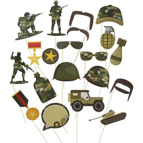 Set da 20 Photo Booth tema militare, in cartoncino, per feste