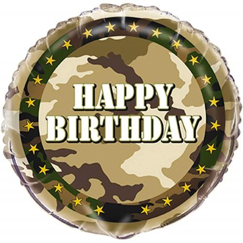 Palloncino Happy Birthday stile Militare, da 45 cm