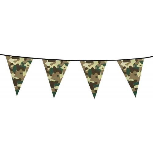 Festone bandierine tema Militare da 6 metri, per feste